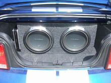"""2 12"""" Rockford Fosgate Punch Subwoofers with Alpine Amp in Custom Made Box."""