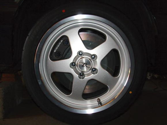 """Front twin piston PBR calipers 13"""" Rotors Saleen SC wheels with Sumitomo ZR17/40/255's"""