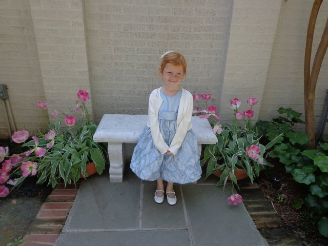 My granddaughter Gwyneth. This begins the tour of Biedenharn gardens Easter week,