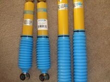 "Just got these shocks from www.eshocks.com for 208$ and free shipping. Bilstein talks allot about their heavy duty performance shocks and they prove it by using them on Mercedes trucks, NASCAR, Ford lightings, etc. They come stamped ""Made in Germany."" I had Edelbrock heavy duty shocks put on this truck and they only lasted a year and I never even took the truck off road! My advise, don't buy Edelbrock shocks. Hopefully these Bilstein's will last longer."