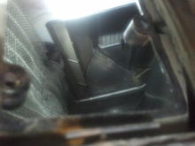 view down through access panel. blend door is in center and heater core is on the upper right.