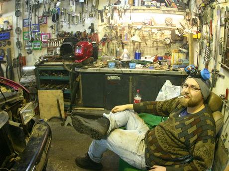Relaxing in garage
