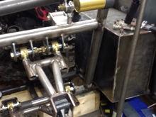Rear passenger shock pivot mount tacked in.