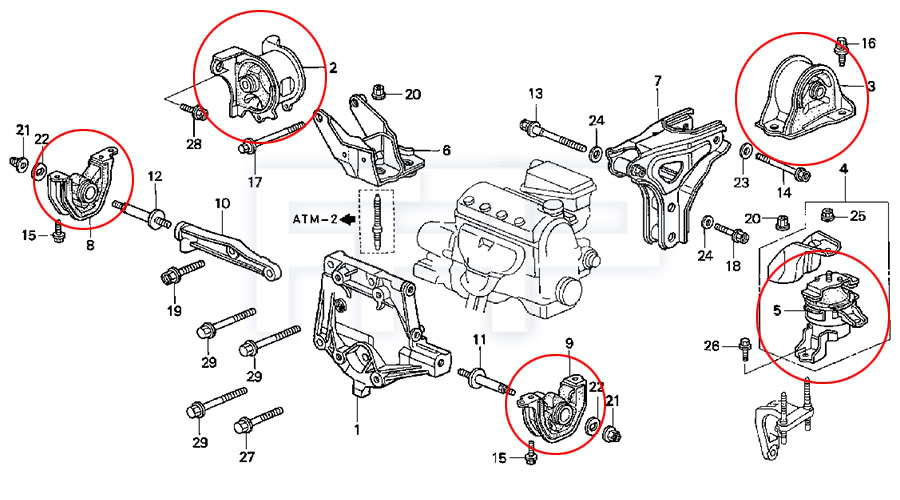 How Isolate Bad Motor Mount 3262738 on acura tl engine mount diagram