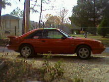 "Pic of it. In this pic car still had 7.5"" rear end in it that previous owner used to replace torn up 8.8"". My uncle gave me a set of BBK springs and 8.8"" rear end with 3.73's out of an 86 GT he had crashed. The springs lowered it a good bit and made it drive alot better. It's got BBK subframe connectors, Flowmaster mufflers with turndowns on a 2.5"" off road H-pipe, and a world class T-5 with 2.95 1st in it. I miss this car, just couldn't afford to drive it with gas $4.00 a gallon. It got 12mpg on the highway babying it.  Sold it to my cousin for $3200 and bought a 91 convertible LX 5.0"