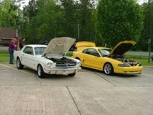 1965 Mustang 289 next to my 95 Mustang 302
