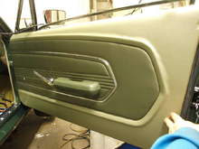 Interior - No paint here.. outer edge has matching light Ivy Gold vinyl with the standard inner dark Ivy Gold insert. Power windows & door locks were also added.