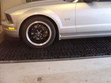 The Mustang on my AquaStall indoor car washing platform.  I can wash my car indoors, all year round!