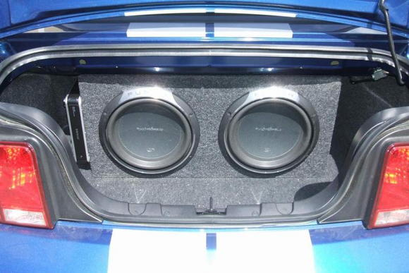 "2 12"" Rockford Fosgate Punch Subwoofers with Alpine Amp in Custom Made Box."