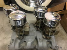 Nos manifold and 4 nos 97s with air cleaners . Nos never used rare hot setup . Small olds v8 . 1200.00 plus shipping .