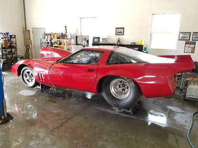2 84 and a 63corvette drag cars