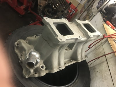 Weiand bbc rec port intake with twin 750 carbs