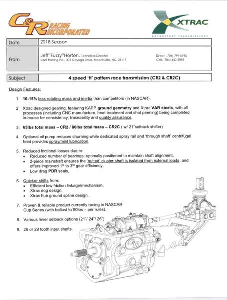 NASCAR CR2/CR2C Gear boxes  for Sale $3,850