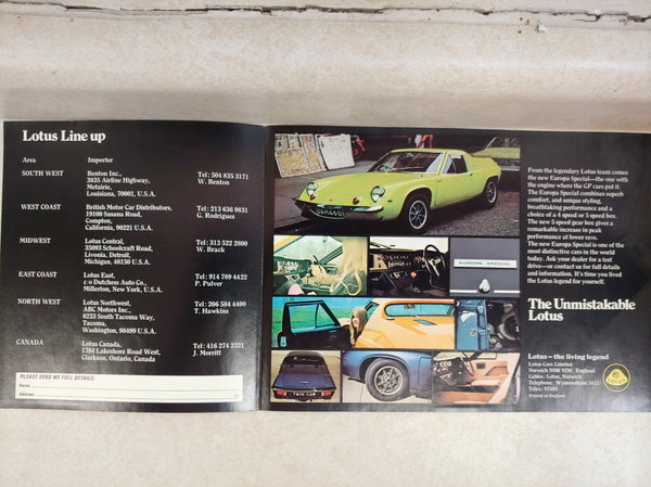 New Lotus TC Europa Factory Sales Brochures  for Sale $25