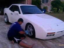My boy washing his 944