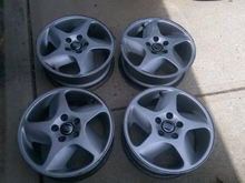 """Upgraded to 16"""" Columbias with 205/50-R16 General G-MAX as-03. Good tires for daily driving, not suitable for autocross."""