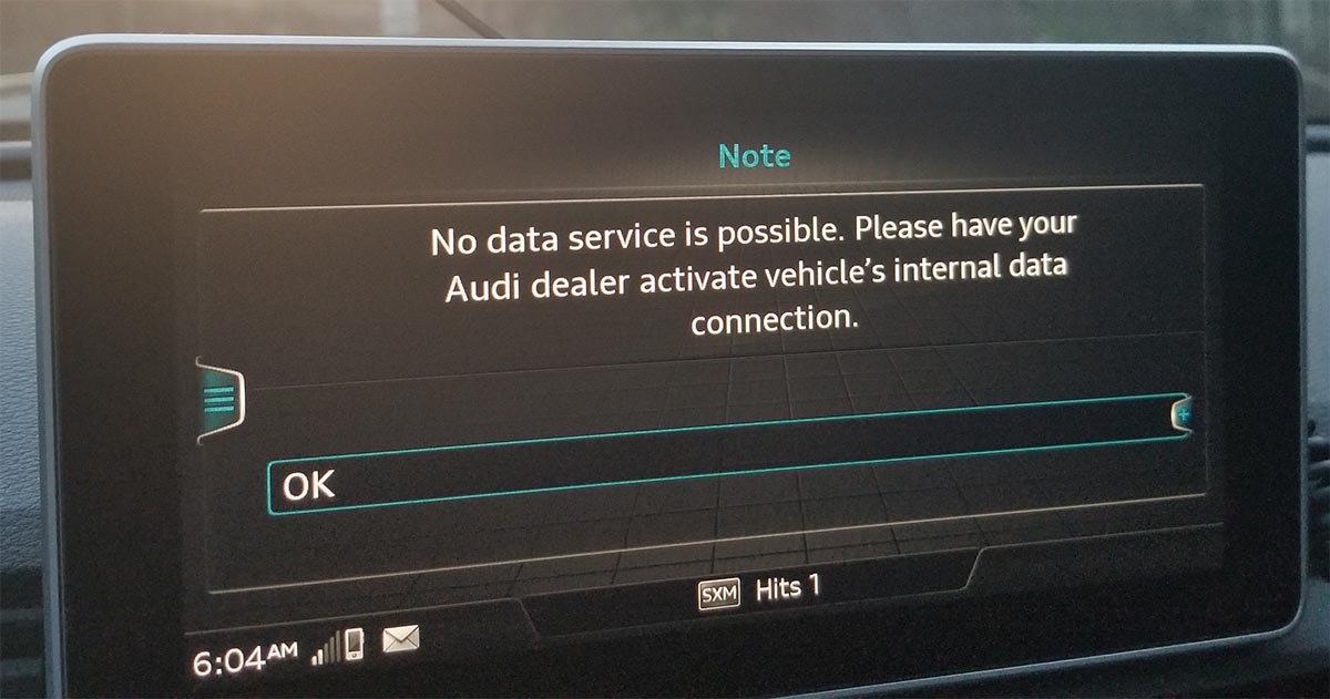 Audi Connect Error Dealer Activate Internal Data Connection - Audi connection