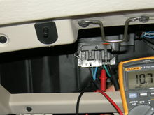 Checking voltage going out to front AC blower motor.