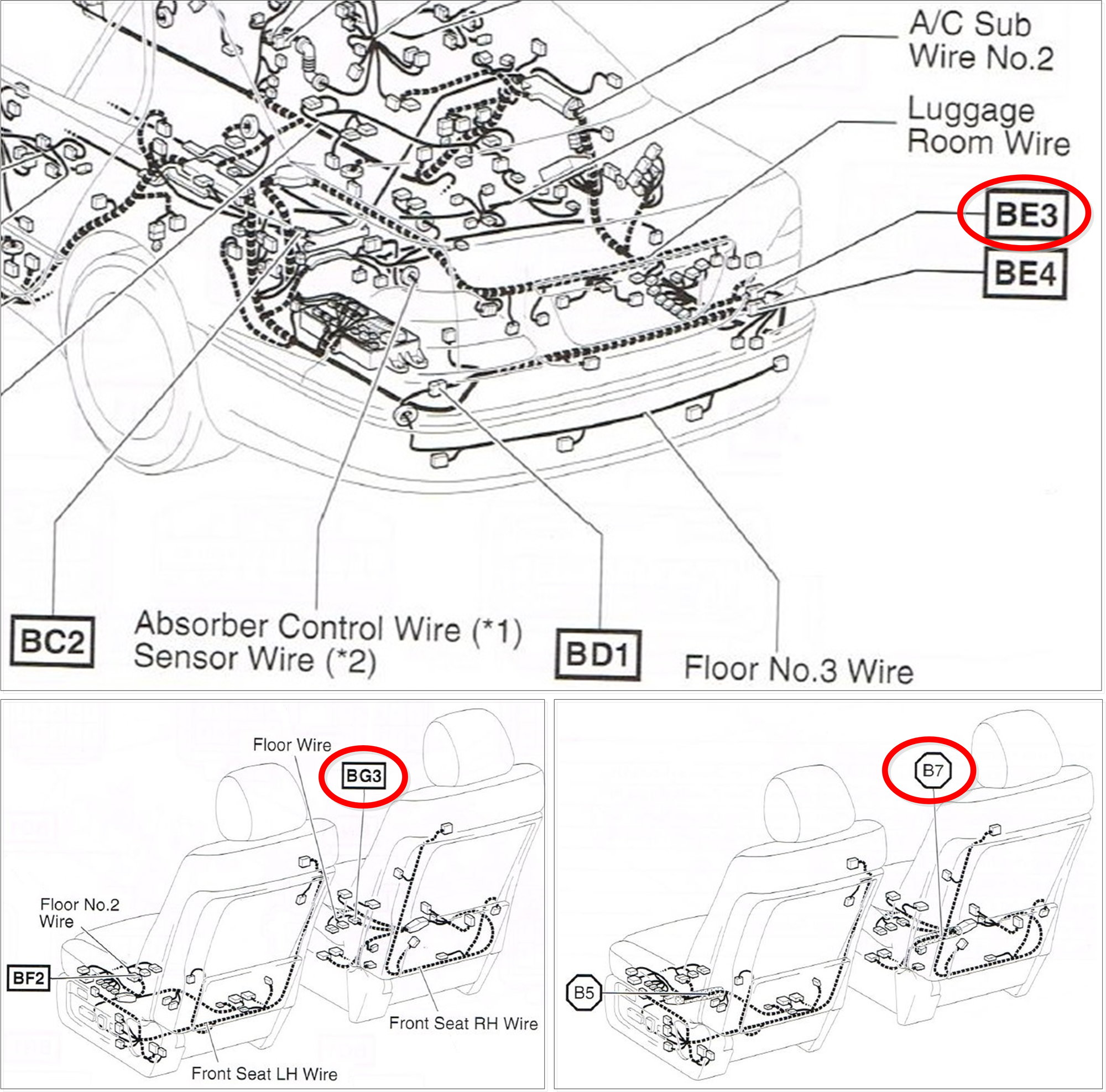 Here are the locations referenced on the wiring diagram: BE3, BG3, and B7