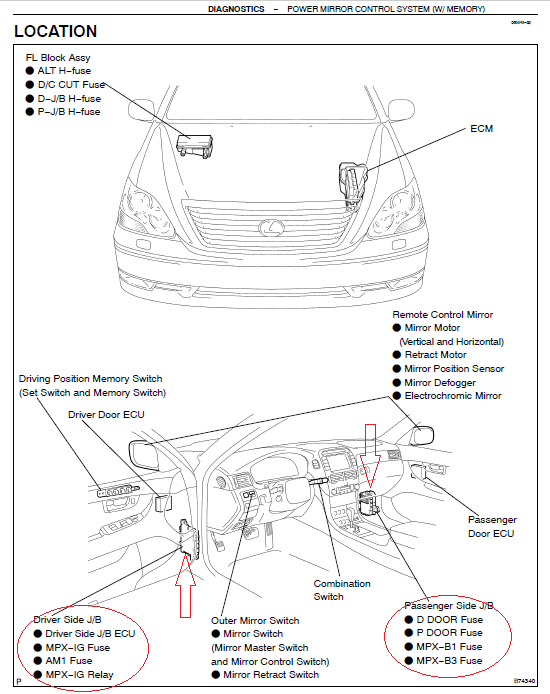 Fuse location for LS430 puddle light in the door mirror – Lexus Sc300 Fuse Box Location