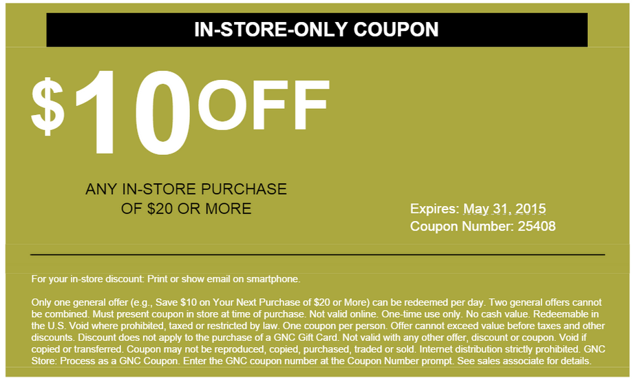 photo relating to Gnc Coupons in Store Printable known as GNC within just keep coupon $10 off $20 acquire!! - ClubLexus