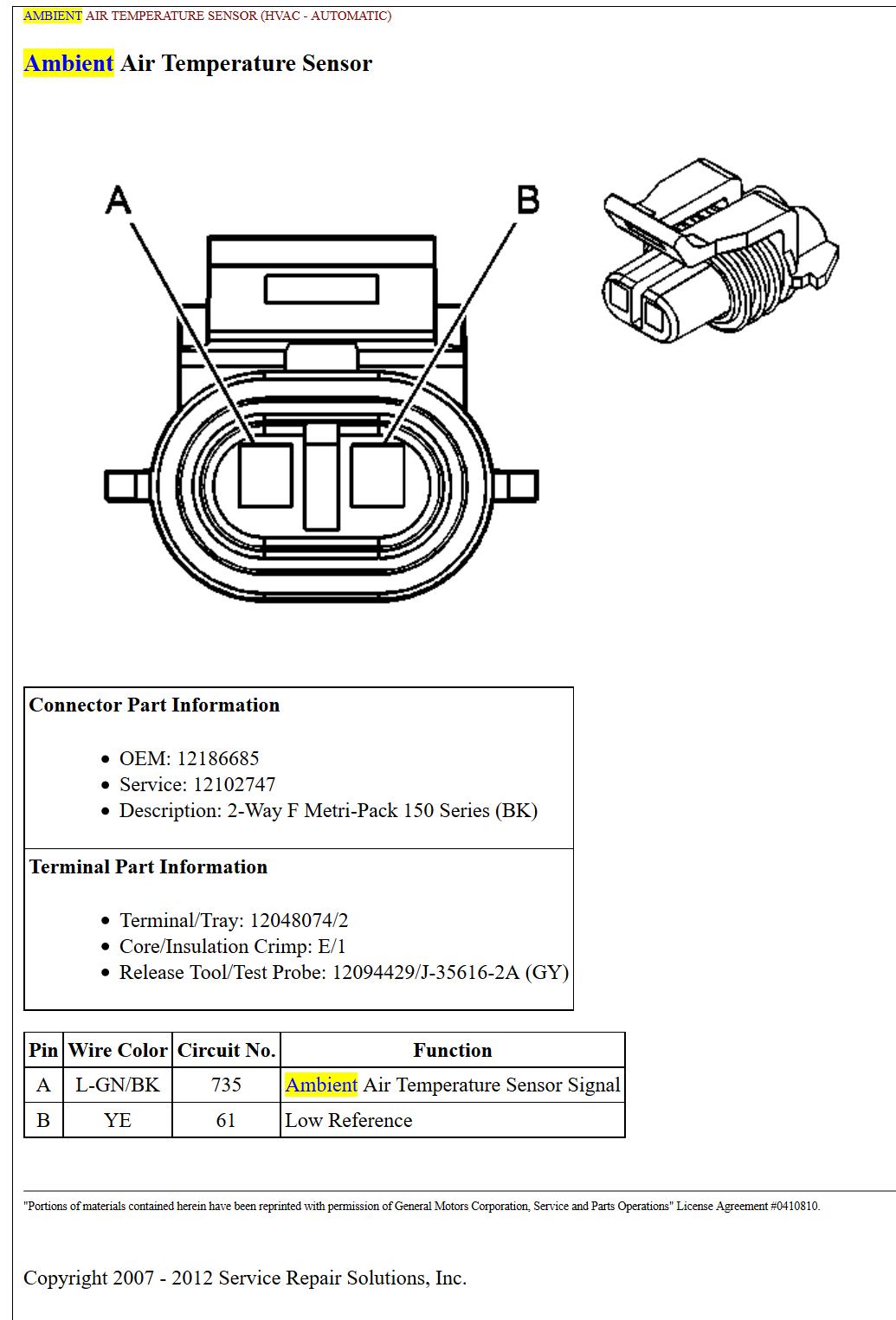 Pin Out Or Wiring Diagram For C6 Ambient Air Sensor - Corvetteforum