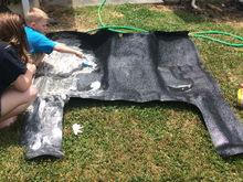 Starting on interior..scrubbing the rubber floor mat