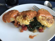Risotto cake - that's spinach not kale!