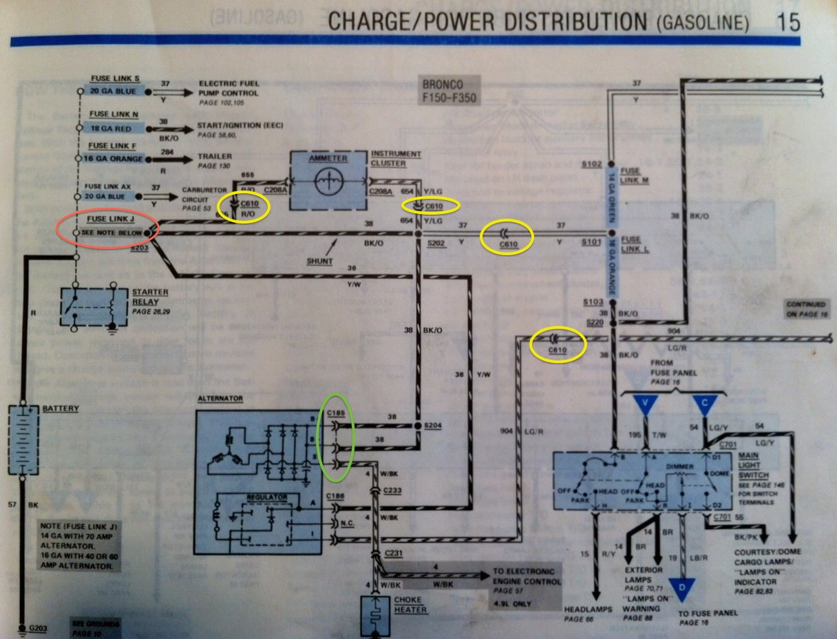 [SCHEMATICS_48IS]  1986 F150 - Help finding short - fusible link blowing - Ford Truck  Enthusiasts Forums | 1986 Ford F 150 Alternator Wiring |  | Ford Truck Enthusiasts