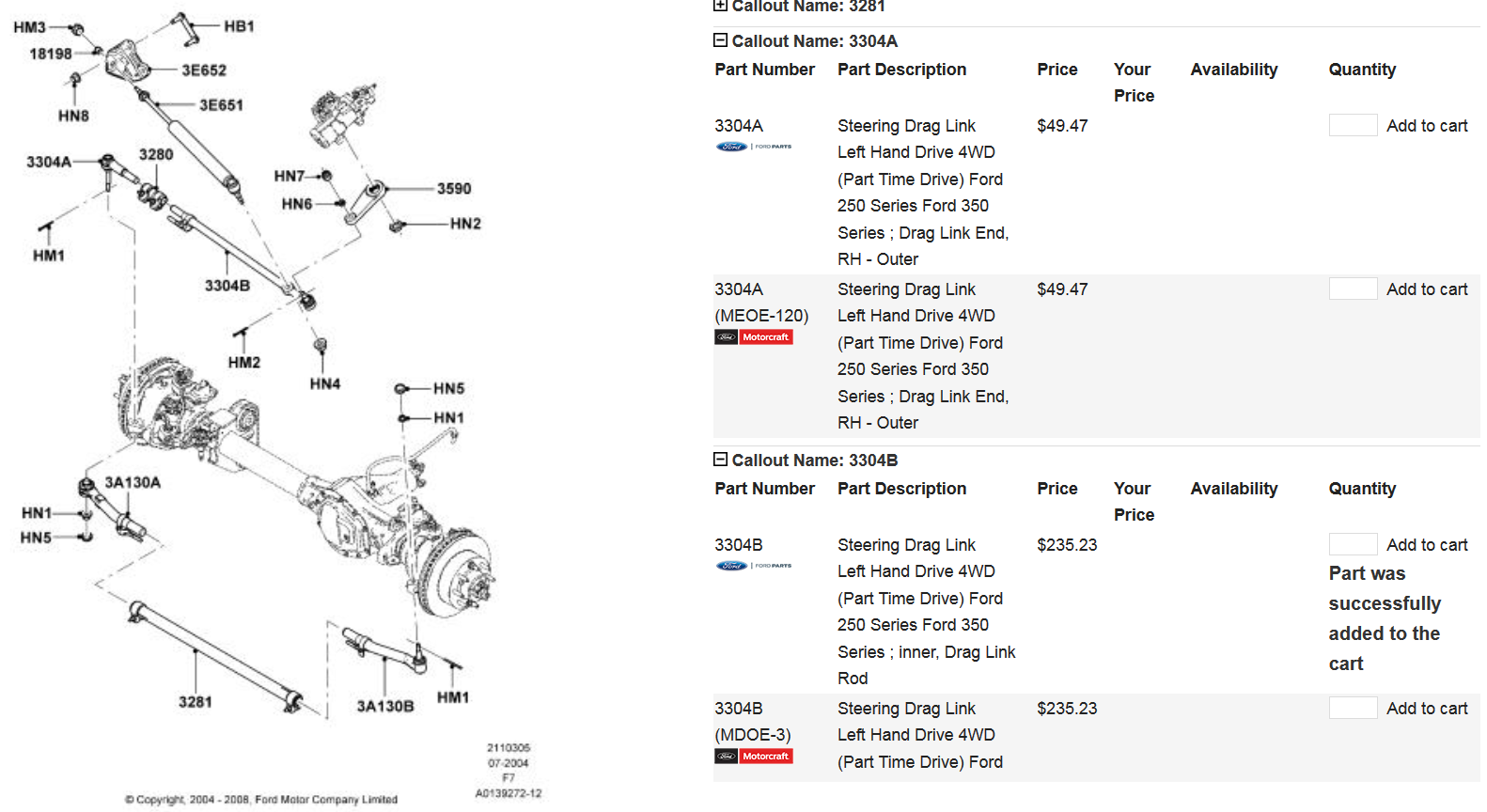 06 ford f250 steering diagram  ford  auto parts catalog