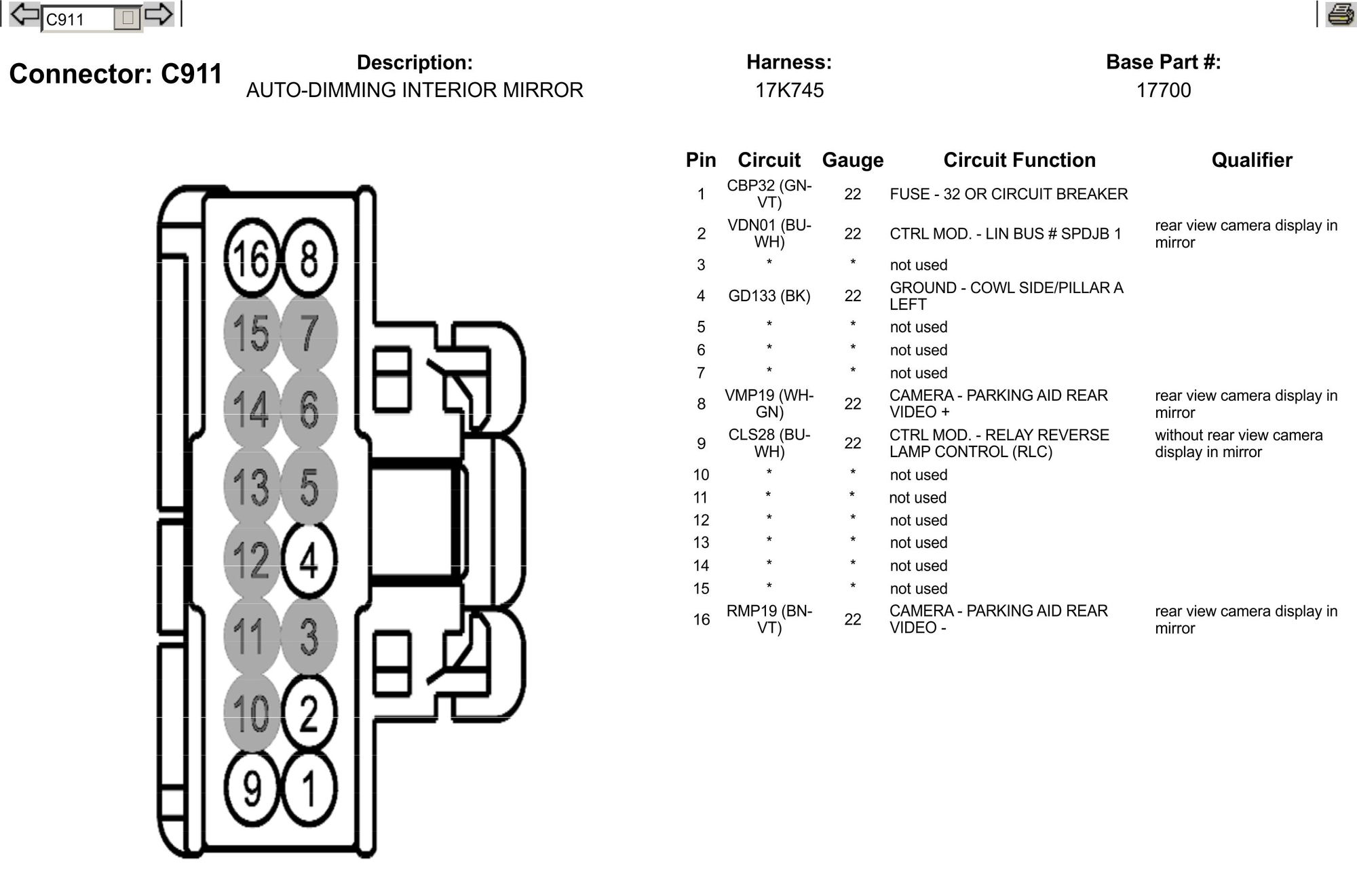 1384953 Need Wiring Pinout For 2012 Lariat Rear View Mirror Please on ford 7 pin wiring diagram