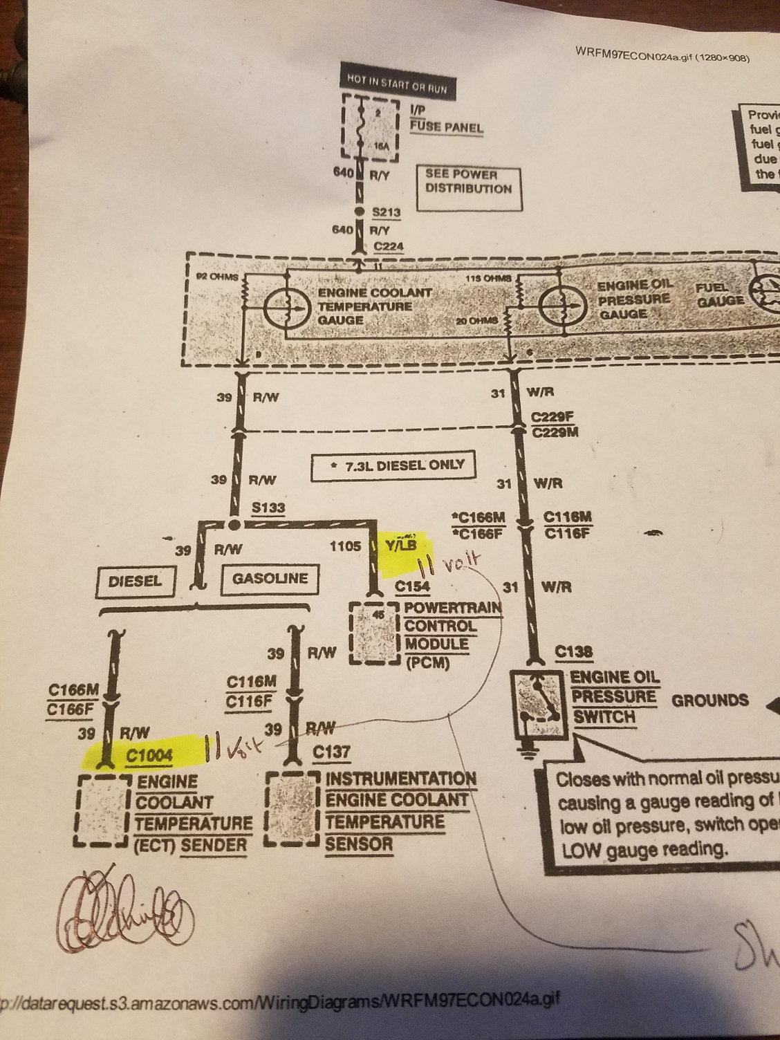 97 Pcm Diagram C154  U0026 Cts Voltage Issue