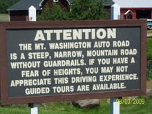 Mt. Washington road warning