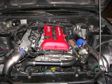 a sr20det I swapped int a pos 240sx and uilt a respectable IC system for. It made 285hp at 15-16psi on a s15 turbo.