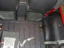floor after sprayed with Line-X boxliner