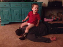 Duke playing with Uncle Sean