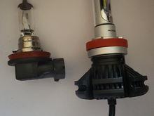 Left(stock H11) fog light bulbs. Right new improved LED bulbs that are Gi-Normus! Hahaha