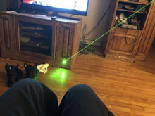 One cheap green laser.