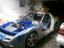 """her current status :)    she running.on e6k on a tune frm.another car.with.simmilar.mods idles like.ass so.need to get afrs dialed in wen I.get calipers painted and new brake pads. wich reminds me I.need to fimish.my """"brake line tuck"""""""